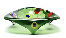 Small Triangle Stepping Stone Bowl: Olive Green by Ed Edwards (Art Glass Bowl)