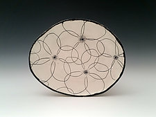 Black and White Blossom Plate by Whitney Smith (Ceramic Plate)