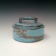 Lidded Vessel in Gray and Blue by Whitney Smith (Ceramic Vessel)