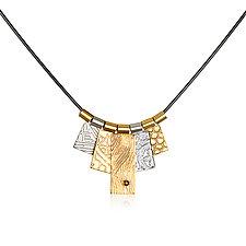 Gold & White Rhodium 5 Tab Necklace by Suzanne Q Evon (Gold & Rhodium Necklace)