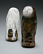 Two Owls by Beth Ozarow (Ceramic Sculpture)