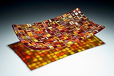 Long Fall Harvest Platter by Robert Wiener (Art Glass Platter)
