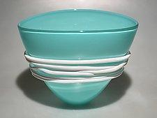 Celadon Basket Bowl by Ian Whitt (Art Glass Bowl)