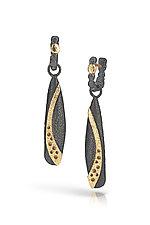 Long Pebble Dangle Earrings by Rona Fisher (Gold & Silver Earrings - STUIDO SALE)