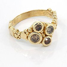 River Pebbles Cluster Ring with Cognac Diamonds Size 7 by Rona Fisher (Gold & Stone Ring)