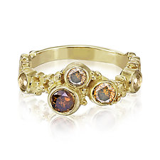 Sunset Pebbles Ring - Size 7 by Rona Fisher (Gold & Stone Ring)