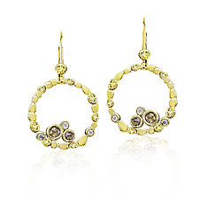 Circle of Pebbles Earrings in 18k Gold with Cognac Diamonds by Rona Fisher (Gold & Stone Earrings)