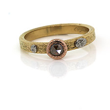 Textured Ring with Rose-Cut Cognac Diamond Size 7 by Rona Fisher (Gold & Stone Ring)