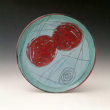 Double Rose Plate by Whitney Smith (Ceramic Plate)