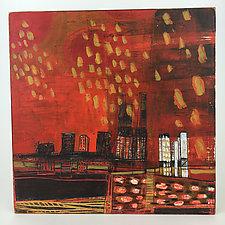 Red City Rain by Barbara Gilhooly (Acrylic Painting)