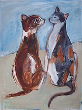 Two Cats Staring by Elisa Root (Oil Painting)