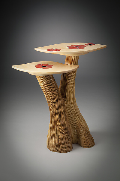 Two-Level Table with Poppy Inlay