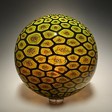 Honeycomb Sphere by David Patchen (Art Glass Sculpture)