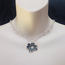 Dogwood Pendant on Oval Link Chain by Kathleen Lynagh (Silver Necklace)