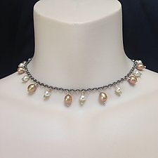 Titanium, Pearl, and Peridot Necklace by Kathleen Lynagh (Pearl Necklace)