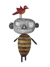 MoonBee with Bird by Bruce Chapin (Wood Wall Sculpture)