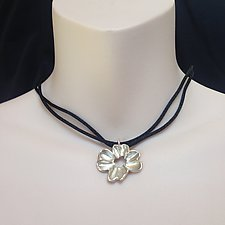 Sterling Silver Dogwood Pendant on Satin Cord by Kathleen Lynagh (Silver Necklace)