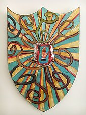 La Mano Shield by Barbara Gilhooly (Mixed-Media Wall Sculpture)