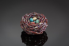 Woven Glass Bird's Nest in Earthy Brown by Demetra Theofanous (Art Glass Sculpture)