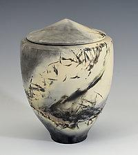Horizon Mist Covered Jar by Judith  Motzkin (Ceramic Jar)