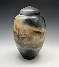 Horizon Mist Ginger Jar by Judith  Motzkin (Ceramic Jar)