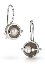 Petite Round Abacus Wire Earring by Danielle Miller (Silver, Gold & Pearl Earrings)