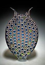 Cinnamon and Aqua Foglio by David Patchen (Art Glass Vessel)