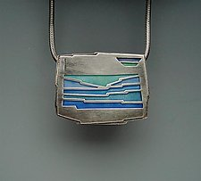 Aegean Sea Pendant No. 228 by Carly Wright (Silver & Enamel Pendant)