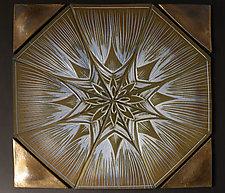 Floral Hexagon Backsplash by Natalie Blake (Ceramic Wall Sculpture)