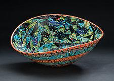 Multicolored Elliptical Bowl with Orange Frame by Jean Elton (Ceramic Bowl)
