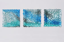 Glass Wall Triptych by Mira Woodworth (Art Glass Wall Sculpture)
