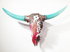 Dogwood Cow Skull by Grant Garmezy (Art Glass Wall Sculpture)