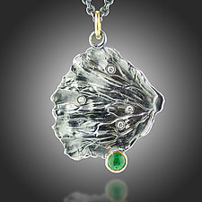 Fan Lichen Emerald and Diamond Pendant by Renee Ford (Gold, Silver & Stone Necklace)