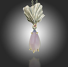 Fan Lichen Holley Blue Agate Pendant by Renee Ford (Gold, Silver, & Stone Necklace)