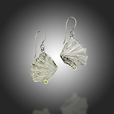Fan Lichen Green Diamond Earrings by Renee Ford (Gold, Silver & Stone Earrings)