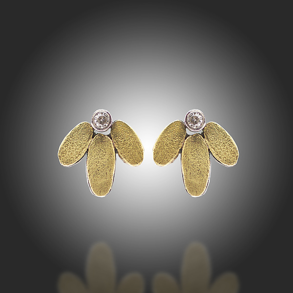 Lichen Lotus Stud Diamond Earrings