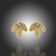Lichen Lotus Stud Diamond Earrings by Renee Ford (Gold, Silver & Stone Earrings)