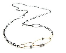 Abacus Vanity Necklace by Hannah Blount (Gold, Silver & Pearl Necklace)