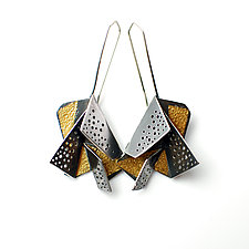 Origami Earrings #6 by Sophia Hu (Gold & Silver Earrings)