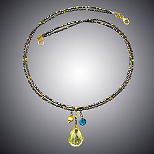 Lemon Quartz, London Blue Quartz and Pyrite Necklace by Judy Bliss (Gold & Stone Necklace)