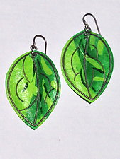 Emerald and Peridot Green Leaf Earrings by Carol Windsor (Silver & Paper Earrings)