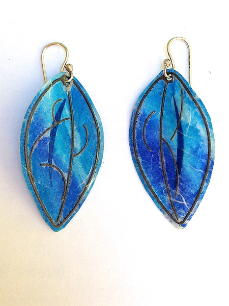 Turquoise and Lapis Blue Colored Leaf Earrings