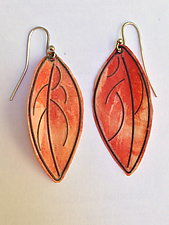 Salmon Colored Leaf Earrings by Carol Windsor (Silver & Paper Earrings)