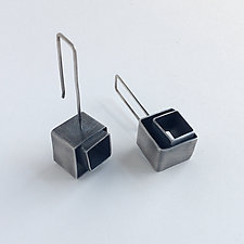 Cubes Squared Earrings by Jane Pellicciotto (Silver Earrings)