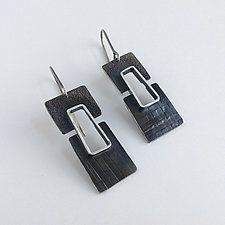 Split Level Earrings by Jane Pellicciotto (Silver Earrings)