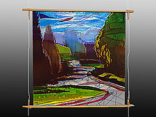Pathway through the Park by Alice Benvie Gebhart (Art Glass Wall Sculpture)