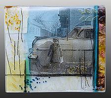 New Car - 1960s Car Series by Alice Benvie Gebhart (Art Glass Wall Sculpture)