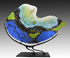 Turquoise Nautilus by Karen Ehart (Art Glass Sculpture)