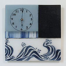 Patchwork Timepiece in Blue by Alice Benvie Gebhart (Art Glass Clock)