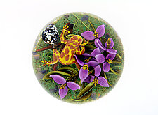 Giraffe Morph Clown Frog with Purple Flowers by Clinton Smith (Art Glass Paperweight)